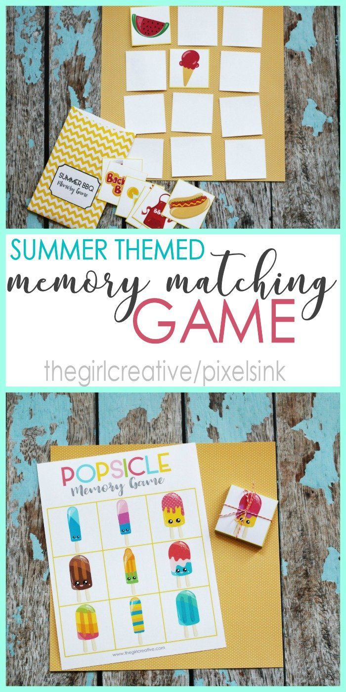 Printable color matching games for preschoolers - Printable Summer Themed Memory Matching Game Summer Activities Boredom Busters Preschool Activities