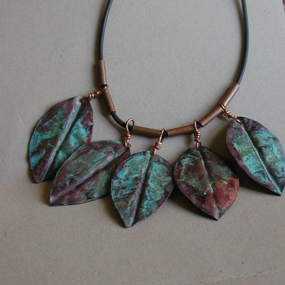 Copper leaves necklace