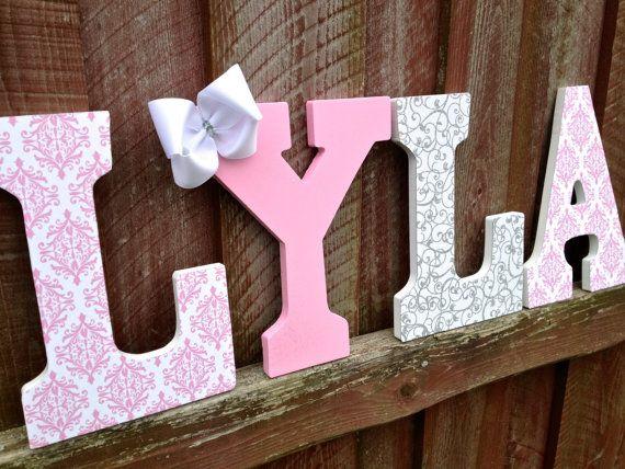 Pink damask, White glitter swirl pattern, and pink glitter letters- Custom wall art- Name- Room decoration- Children Girls Baby