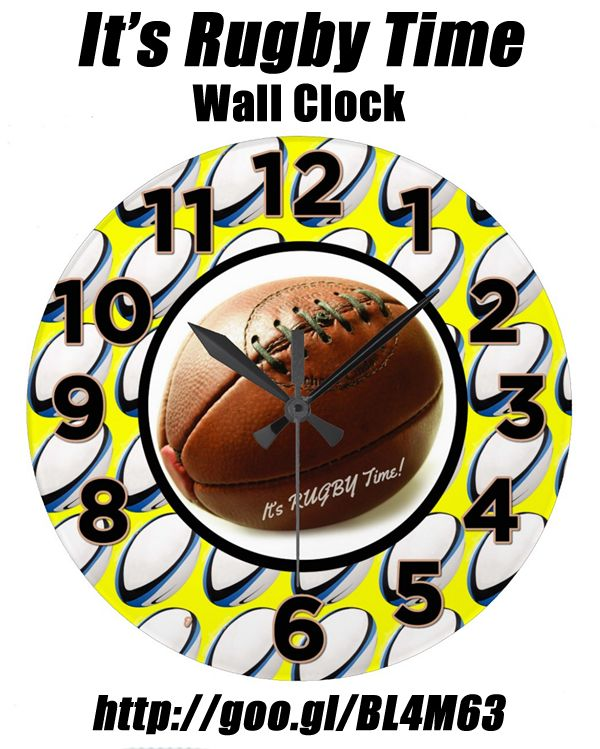 It's Rugby Time - Wall Clock. One for the rugby club or player's wall. The ideal gift for a rugby fanatic! http://www.zazzle.com/its_rugby_time_wall_clock-256453750153618132 #rugby #clock #gifts