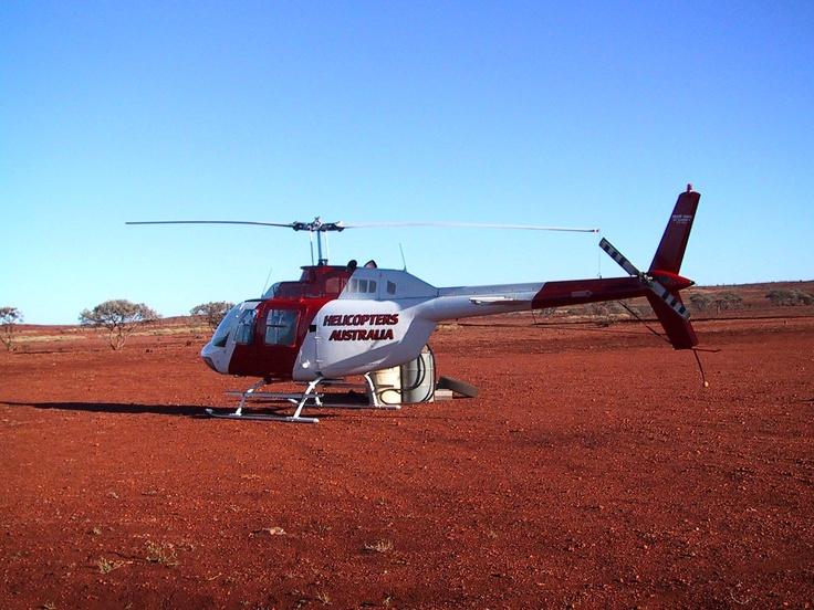 De Beers Australia Field trip, October 2003. Refuelling the helicopter.