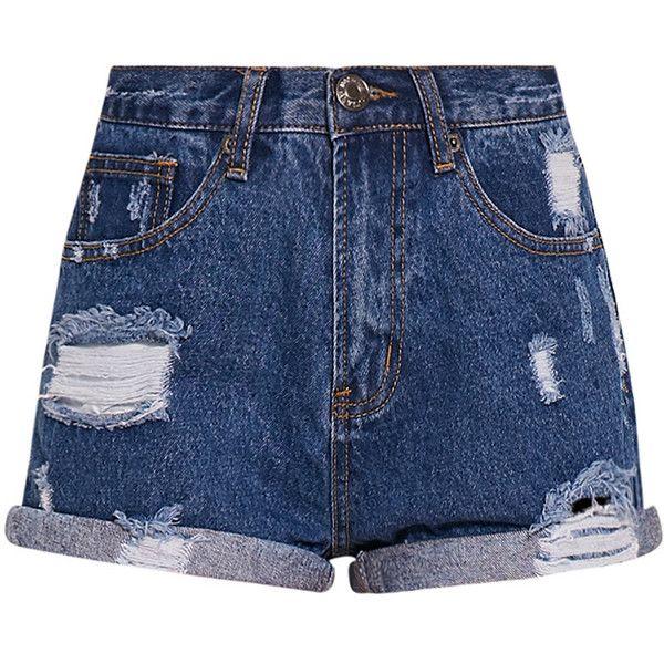 Camilla Blue High Waisted Ripped Denim Shorts ($30) ❤ liked on Polyvore featuring shorts, bottoms, short, pants, short shorts, distressed jean shorts, high rise denim shorts, high-waisted shorts and ripped denim shorts