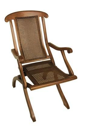"CF251 Dining Deck Chair 23"" with Solid Mahogany Ratten & Brass Material in Honey Distressed French Finish"