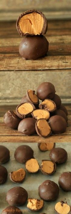 Peanut Butter Truffles Recipe ~ These peanut butter balls have a creamy peanut butter filling that is almost fudge like in texture and are coated in chocolate.  In fact, these truffles taste just like Reese's Candy!