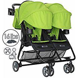 ZOE Umbrella XL2 Double Stroller, DELUXE - Lime Green