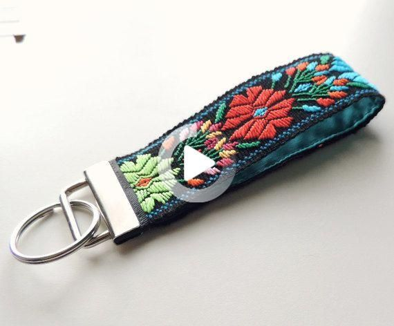 floral key lanyard Personalized wristlet keychain gift for her