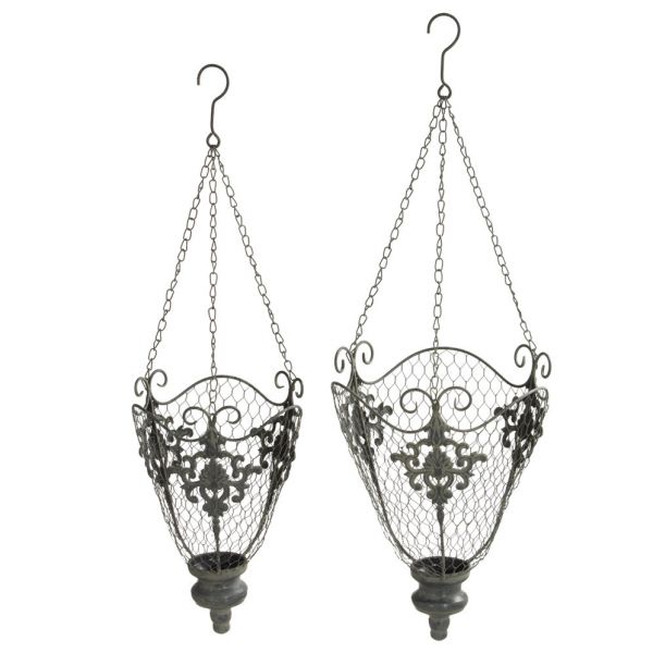 Hanging Metal Chicken Wire Basket Planter (Set of 2) (With