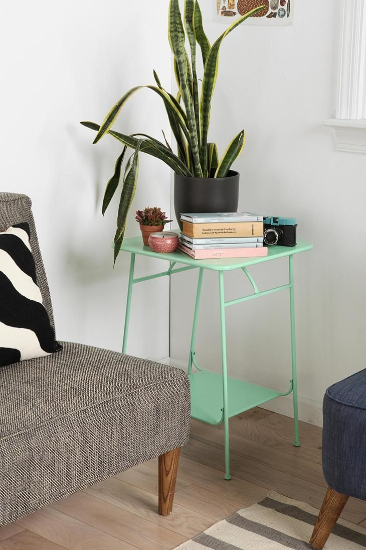 Industrial-inspired factory side table in a lush mint. #urbanoutfitters