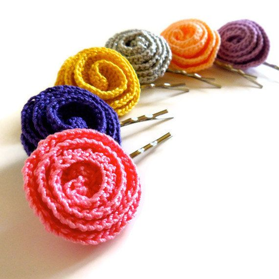 Crocheted Flower Bobby Pins - Hair Accessories - Red Pink Orange Yellow Green Blue Violet Lavender White Silver