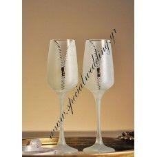 Ποτήρι σαμπάνιας γάμου Γδύσου μου Hand painted wedding champagne flute Undress me
