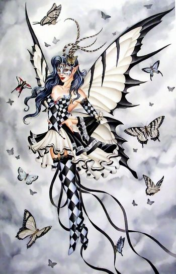 Harlequin Fairy ~ LOVE this!  not into fairies so much, but i love the black and white patterns!  the flowy ribbons ... just lovely fun!