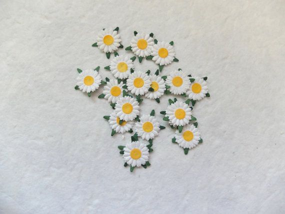 50 20mm paper daisy embellishment 2 layers by eastmeetswest (Craft Supplies & Tools, Scrapbooking Supplies, Embellishments & Die Cuts, paper flower, flower, mulberry paper, mulberry, wedding decor, embellishment, daisy, flower decor, paper sunflower, mulberry sunflower, white daisy, daisy embellishment, flower embellishment)