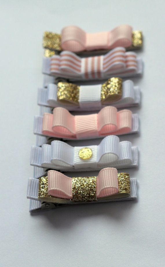 "Set of six Belle's Bows "" Pure Glamour "" hair bows. Gold , soft pink and whites. With a hint of sparkle and Glam. Princess, Girl hair bows...."