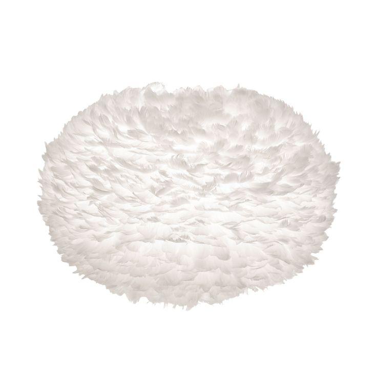 Produkteinzelabbildung des Baldachins EOS X-Large in Crème mit Vogelfedern von Vita. Der extra-große, cremefarbene Lampenschirm wird ohne Kabel und Sockel geliefert.