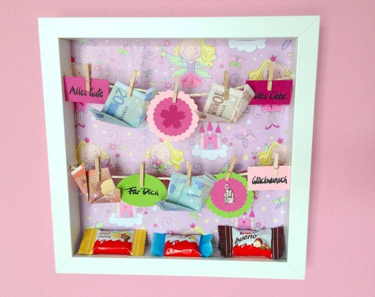 geldgeschenk im bilderrahmen kindergeburtstag von herzkiste auf geburtstag. Black Bedroom Furniture Sets. Home Design Ideas