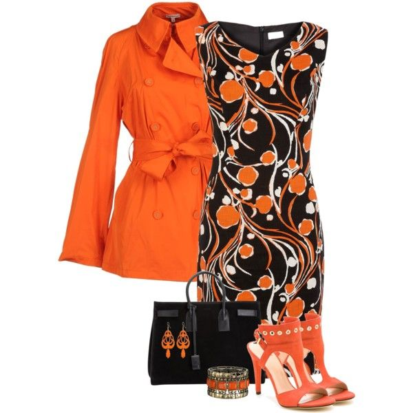 Dress & orange trench, created by mommygerloff on Polyvore