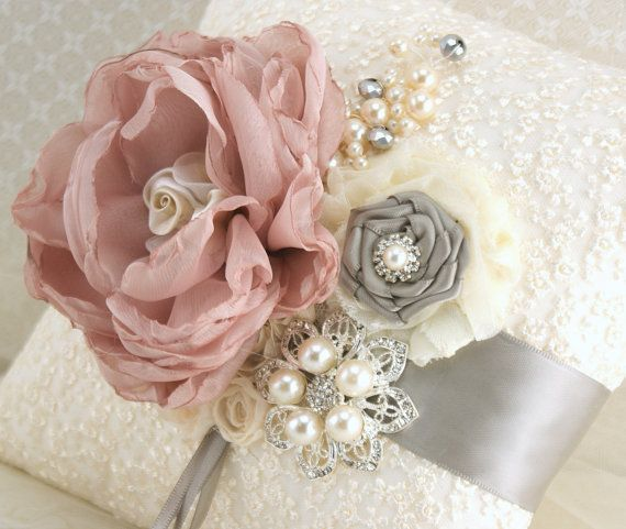 Ring Bearer Pillow Bridal Pillow Wedding Pillow in Ivory, Champagne, Grey/Silver and Dusty Rose with Lace and Pearls. $125.00, via Etsy.