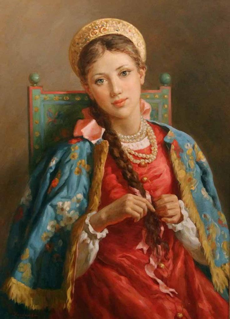 Russian costume in painting. Vladislav A. Nagornov. A Boyaryshnya is Weaving a Plait. 2012. A boyaryshnya is a noble girl in ancient Russia, a boyar's daughter