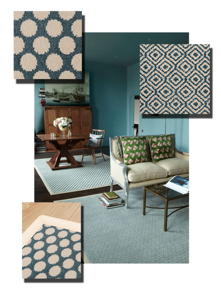Colour Code Two Rugs In The Same Shade Of Duck Egg Blue Defines Setting Areas