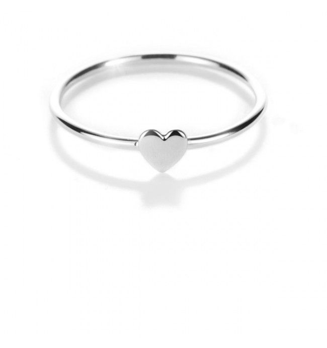 White Gold Heart Stacker Ring | Surreal Jewellery $95
