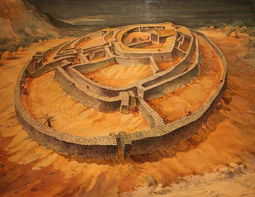 Artistic renderings of Sesklo culture settlements thriving in the Neolithic Era