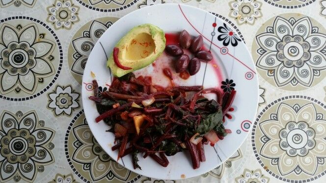 Beetroot leaves with avocado and olives...!!