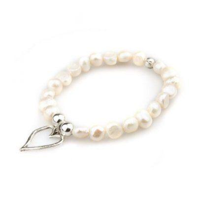 Våga - Armband Pärlor Hjärta Vit