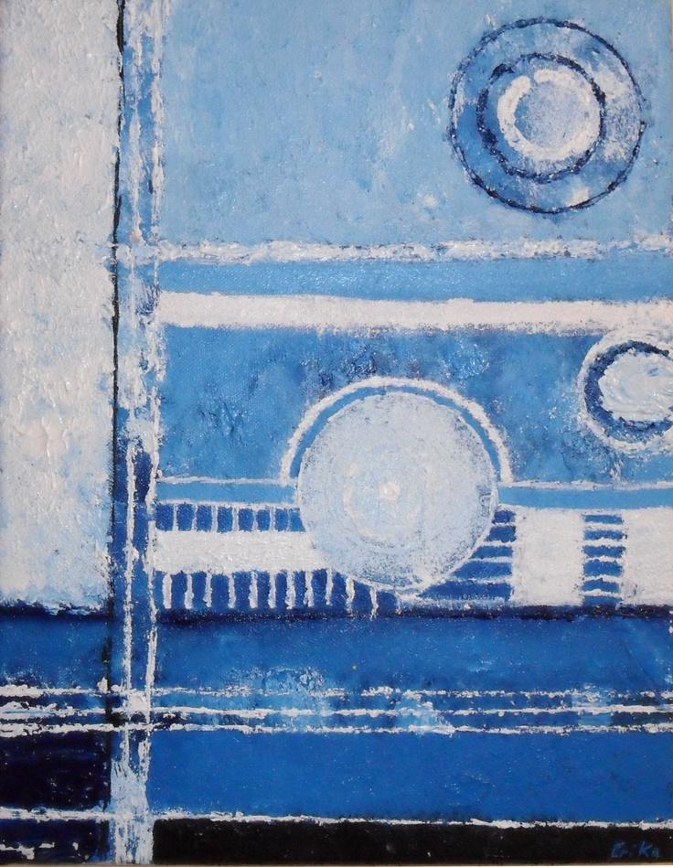 BLUE SAND  Tableau unique peint en 2005  Technique: Utilisation de peinture acrylique et fibre de coton   La toile est montée sur châssis bois et protégée par un vernis afin de donner une très bonne longévité.