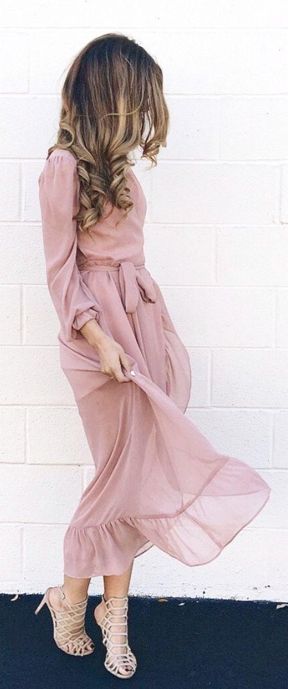 #fall #outfits women's beige long-sleeve midi dress