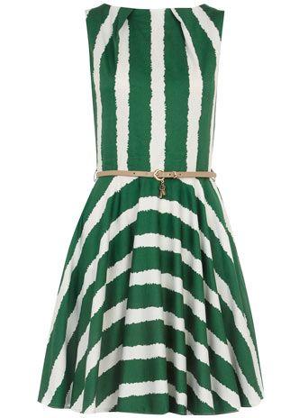 Dorothy Perkins  Green belted flared dressBelts Flare, Summer Dresses, Green Belts, Dorothy Perkins, Day Dresses, Green Stripes, Flare Dresses, Stripes Dresses, Green Dresses