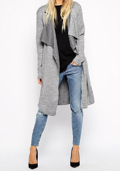 Textured Grey Knit Cardigan- Open Front Textured Grey Knit Cardigan