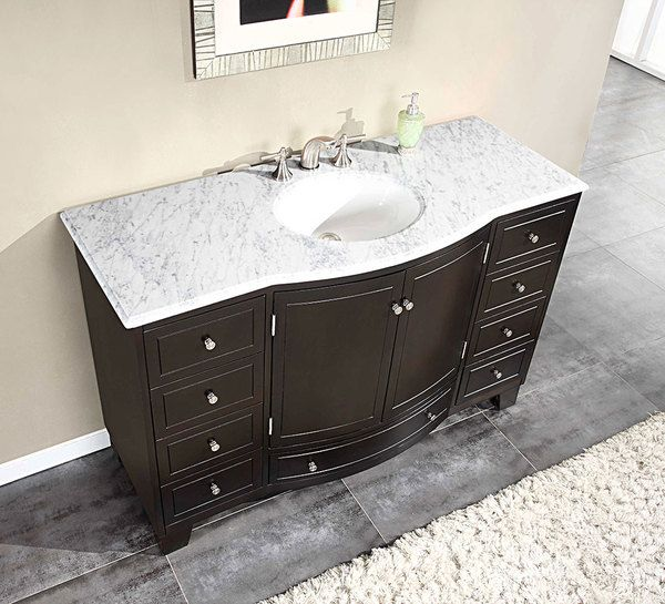 Silkroad Exclusive 55-inch Carrara White Marble Stone Top Bathroom Single Sink Cabinet Vanity - Overstock™ Shopping - Great Deals on Silkroad Exclusive Bathroom Vanities