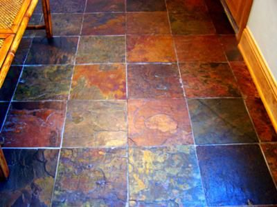 multi-color kitchen slate floor with a couple of coats of MB-6 Color Enhancer - want to add add heating underneath