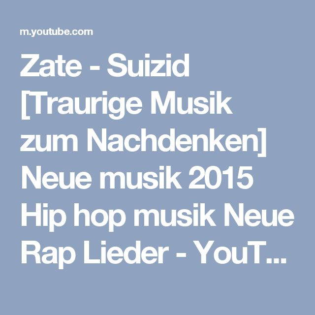 Zate - Suizid [Traurige Musik zum Nachdenken]  Neue musik 2015 Hip hop musik Neue Rap Lieder - YouTube