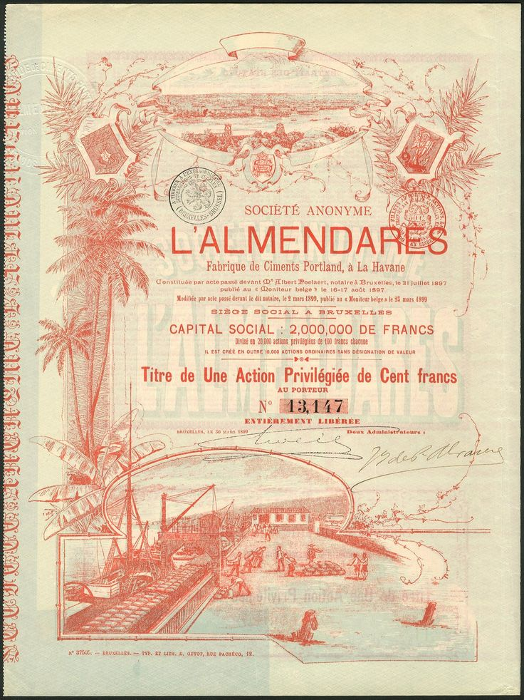 S.A. L'Almendares, Fabrique de Ciments Portland, a la Havane, 100 franc preference share, Brussels 1899