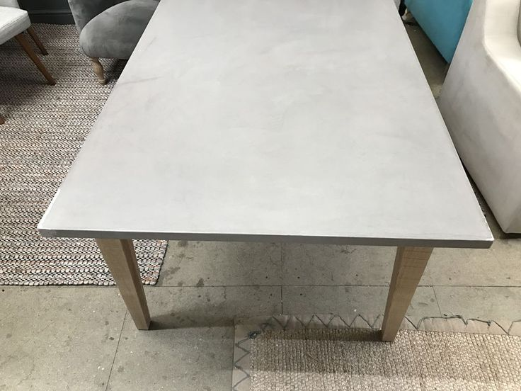 The top looks like lovely polished concrete but is actually a tough resin that is wipeable, warm and beautiful with it. AND MATCHING BUDGE BENCHES IN MEDIUM, LARGE AND EXTRA LARGE. and solid oak legs. | eBay!