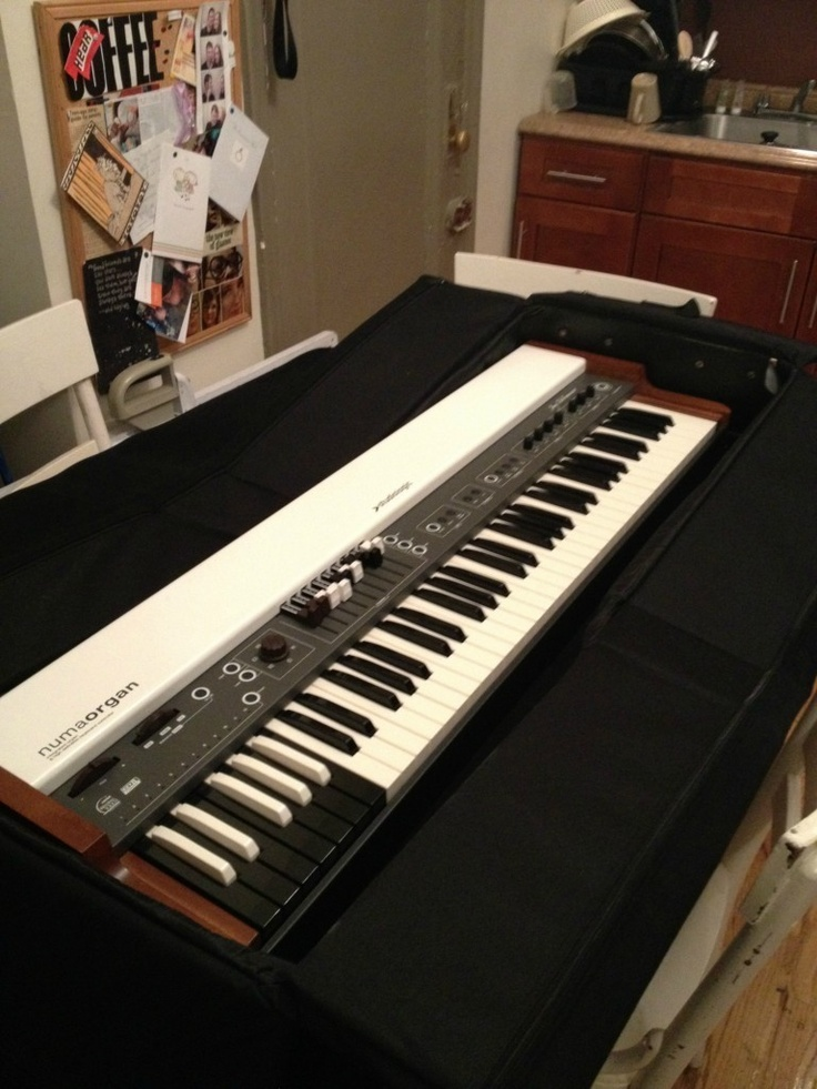 The Numa Organ!  My very own clonewheel.  Classic B3 sounds in a lightweight package.  The Fatar waterfall keyboard is a thrill to play.
