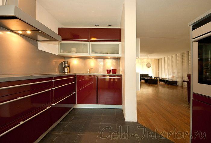 Бордовая кухня, интерьер, фото | Kuhniplan.ru