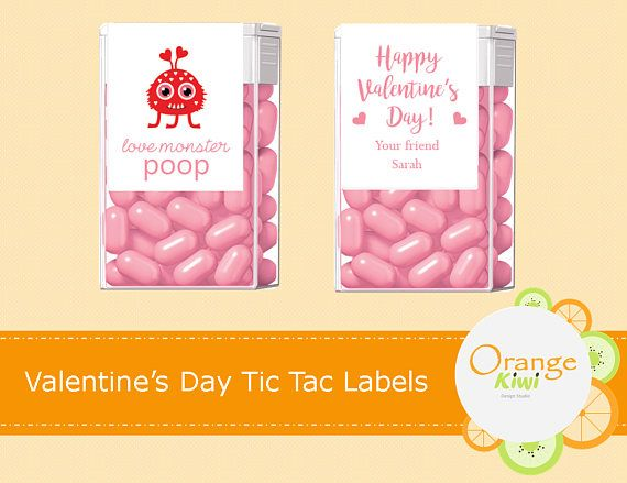 Valentine's Day Tic Tac Labels Love Monster Poop