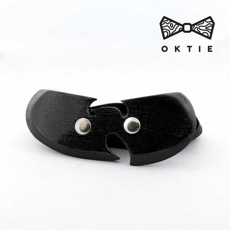 OKTIE WuTang Wooden Bow Tie Handmade Bowtie Wood Accessories Gift for Men Ash curved bow tie Black Clan
