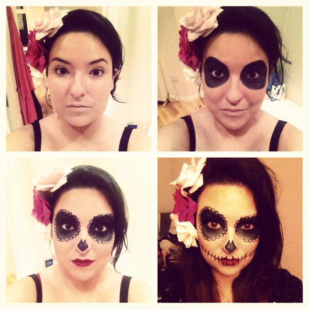 How to sugar skull make up makeup cute pretty easy