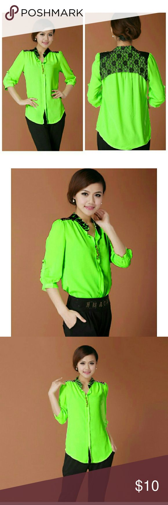 Neon Green Lace-back Korean top... 42 inch bust Important Note: it doesn't have a size. The measurements are below  Length from shoulder to hem: 27 inches at longest point  24 inches at shortest point  Length around underarm: 42 inches  Price is firm... Tops Blouses