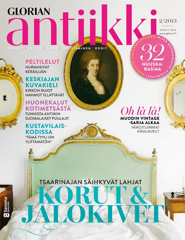 Magazine cover 2/2012. Elegant Gustavian bed, Gustavian mirrors and a portrait from the 18th century. Private home, Finland. Photo Ullamaija Hänninen.