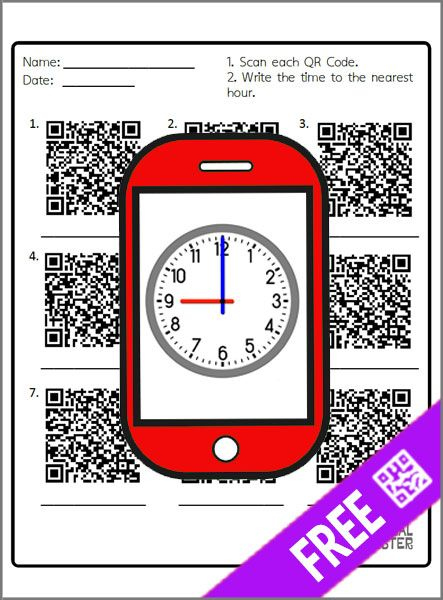 Explore telling time to the hour using QR codes. First, just scan each QR Code and then write what time is on each analog clock. (English/Spanish)
