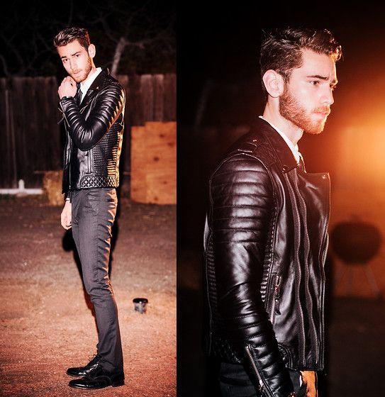 Look Black Leather Jacket White Shirt Black Tie Black