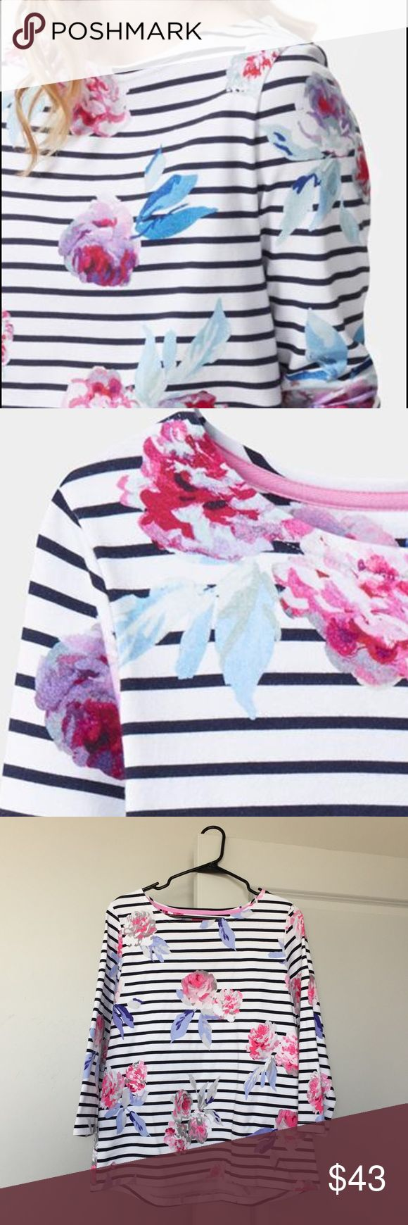 """Floral Stripe Joules Top Joules Harbour Print Jersey Top! Brand new with tags.   Chest: 41"""" Length: 26"""" Material: 100% Cotton  ❌NO TRADES, NO HOLDS, NO PAYPAL ❌ Joules Tops Blouses"""