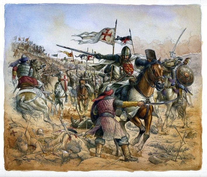 Hattin, por Christian Jégou... Quizá mclane pueda identificar al caballero en primer plano (supongo que Raimundo III atravesando las líneas musulmanas...). Más en www.elgrancapitan.org/foro