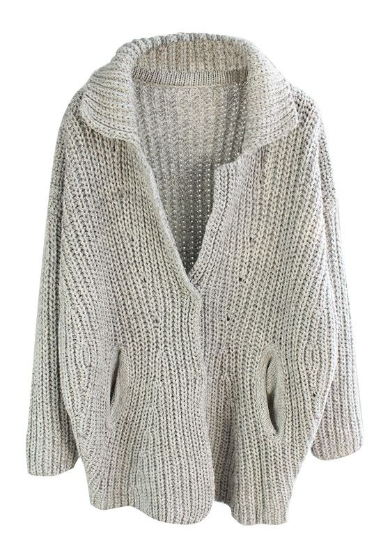 Grey Oversized Coat - Hidden Button Closure At Front