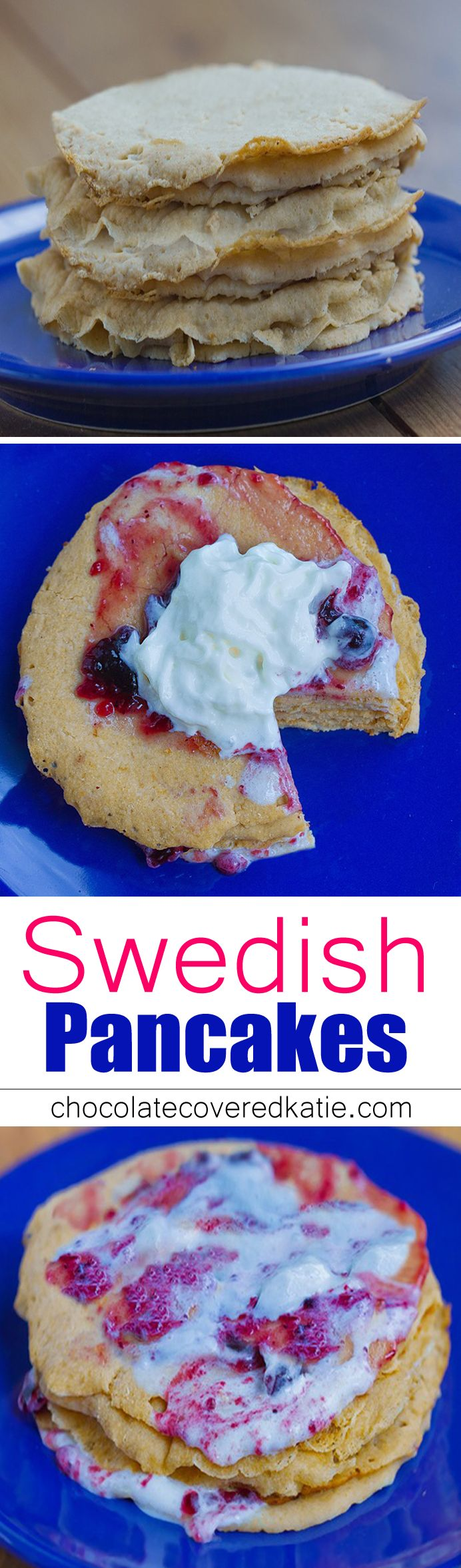 Swedish Pancakes are light and deliciously eggy… unlike anything you've ever tried. You may never go back to traditional pancakes. How to make them: http://chocolatecoveredkatie.com/2015/09/24/swedish-pancakes-recipe-healthy-vegan/