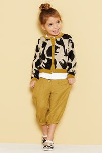 So sweet. Harem pants and a bold pattern sweater.